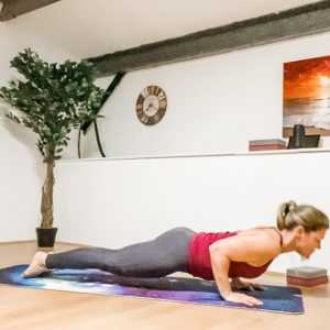 Karen yoga in the present chaturanga